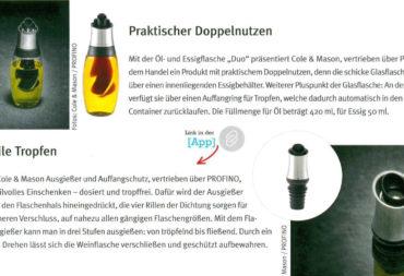 Cole&Mason - Öl- und Essig DUO und einstellbarer Flaschenverschluss, Genuss Pro. Winter 2017