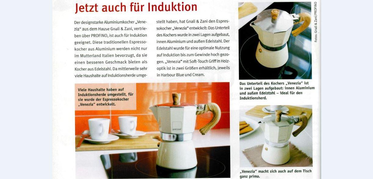 Espressokocher Venezia - designstarker Aluminiumkocher auch für Induktion