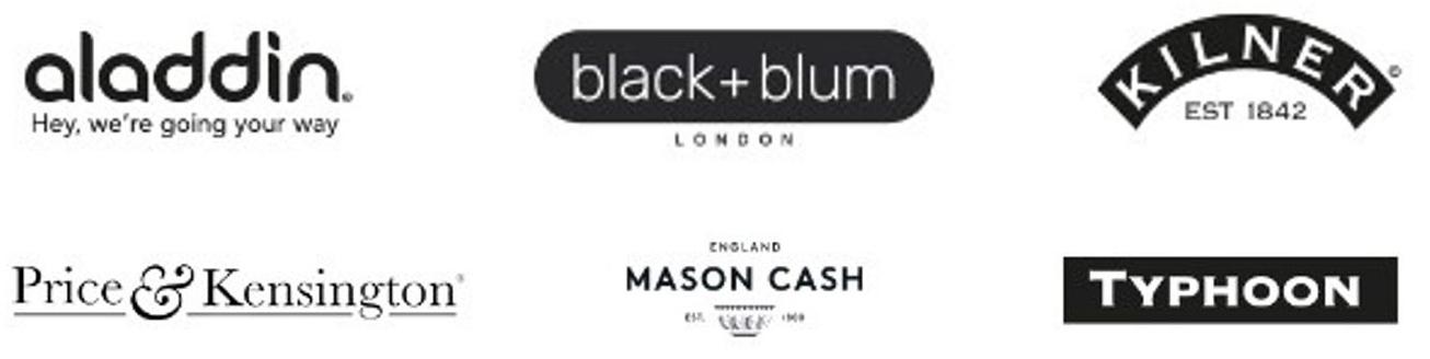 aladdin, black+blum, Kilner, Price&Kensington, Mason Cash, Typhoon Logos