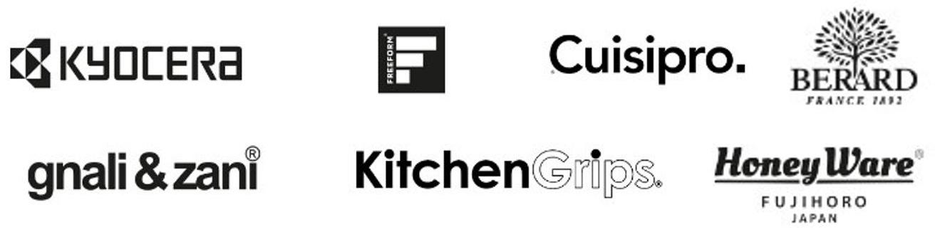 Kyocera, Freeform, Cuisipro, Bérard, gnali&zani, Kitchen Grips, HoneyWare Logos